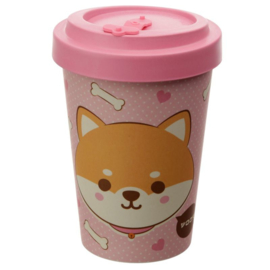 Shiba Inu Dog Reusable Screw Top Bamboo Composite Travel Mug