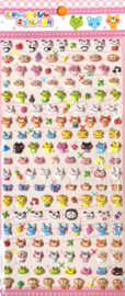 Stickersheet puffy Happy Animal faces