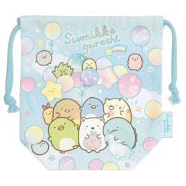 Sumikkogurashi Drawstring bag - Happy For School - Blue
