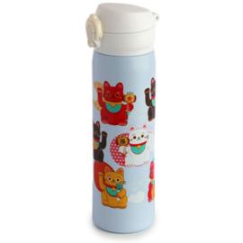 Maneki Neko Lucky Cat Hot & Cold Thermos Bottle with Push Lid