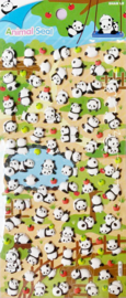 Stickersheet puffy Panda & Apple