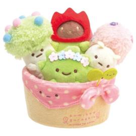 San-X Sumikkogurashi Minikko To Osako - Plushies in flower pot