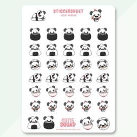 Stickersheet - Sushi Pandas - CutieSquad