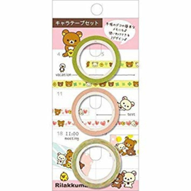3 pcs narrow San-X Washi tape - Rilakkuma