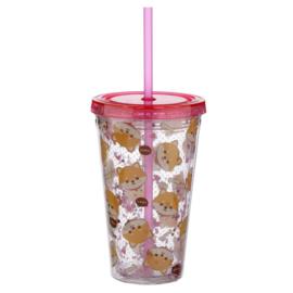 Dubbelwandige Drinkbeker Shiba Inu (+deksel en rietje)