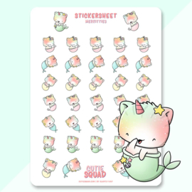 Stickersheet - Mermaid Unikitties - CutieSquad