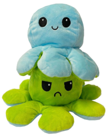 Kawaii Octopus plushie reversible - Blue/Green - happy / sad