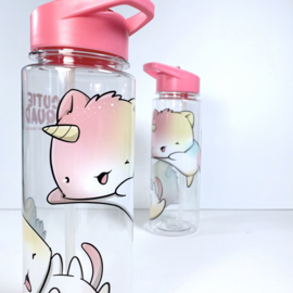 Drinkfles met rietje - Cutiesquad Unikitties