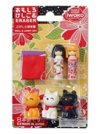 Eraser set Iwako Puzzle - Geisha & Lucky cat