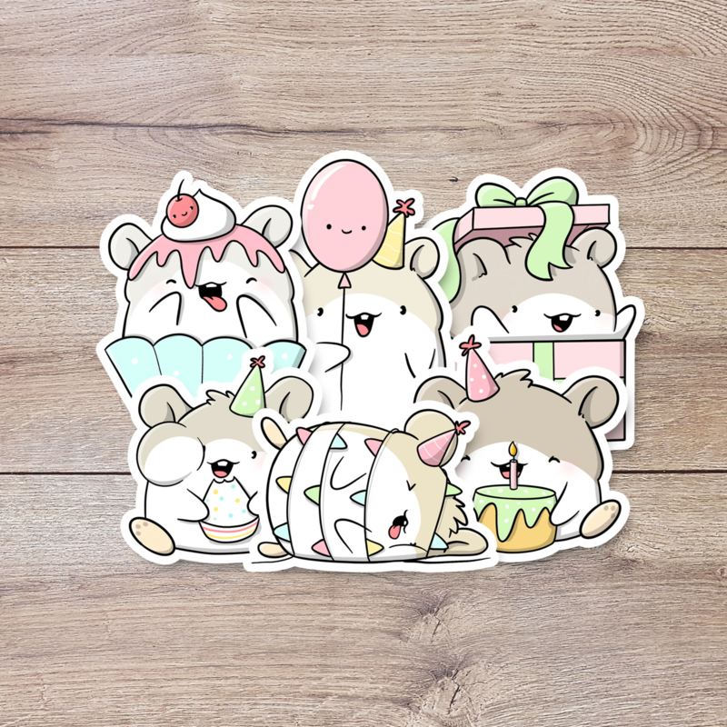 Stickerset - Birthday Hamsters - CutieSquad