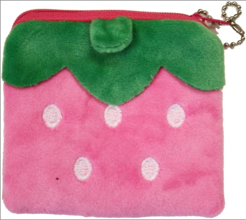 Plushie portemonnee square strawberry