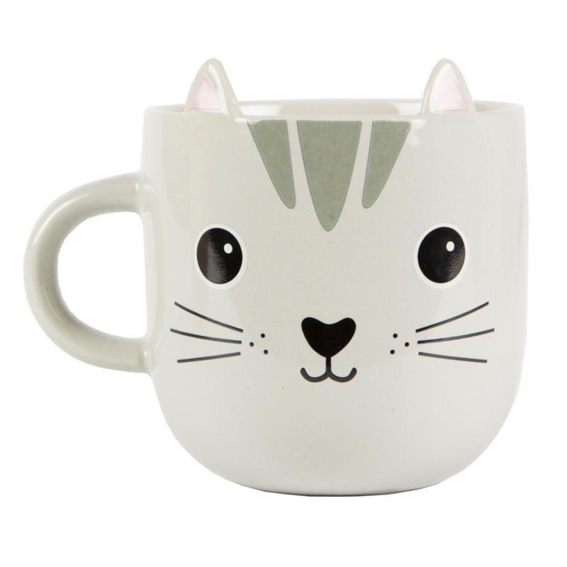 Kawaii Cat Mok Grey