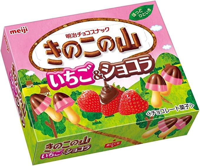 Meiji Kinoko No Yama Ichigo Chocolate Biscuits