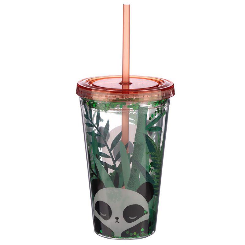 Dubbelwandige Drinkbeker Glitter Panda (+deksel en rietje)