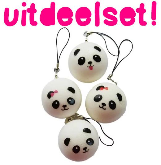 10 x Mini Panda Bun Squishy - Squishies trakteren