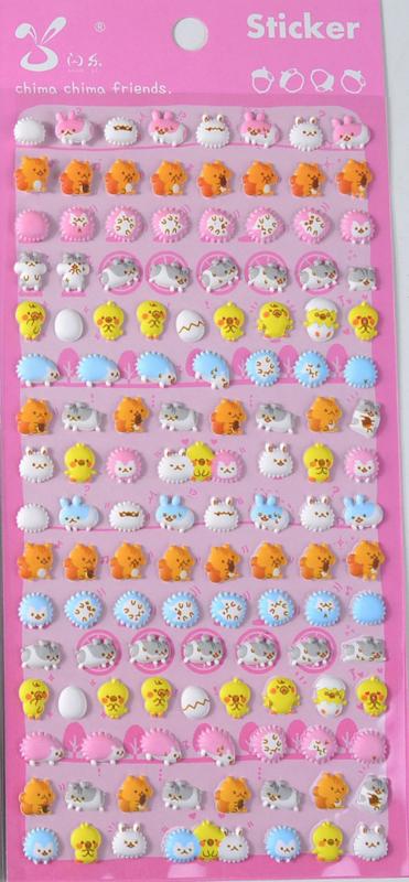Stickervel puffy cute animals