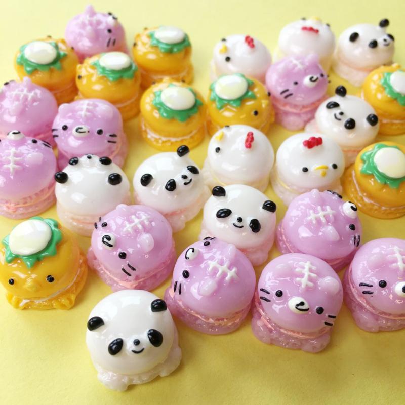 DIY Cute Animal Macaron Cabochons - 8 stuks