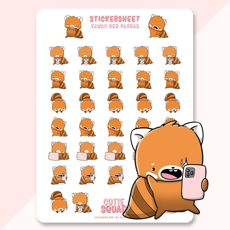 Stickervel - Cute Red Pandas - CutieSquad