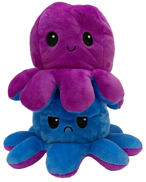 Kawaii Octopus plushie reversible - blue / purple - happy / sad