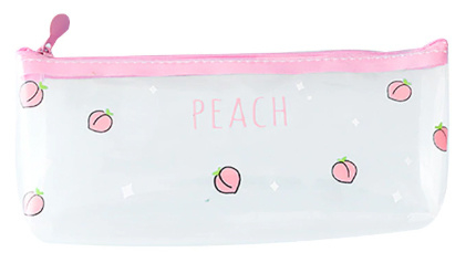 Transparente Federtasche Peach - multiple prints