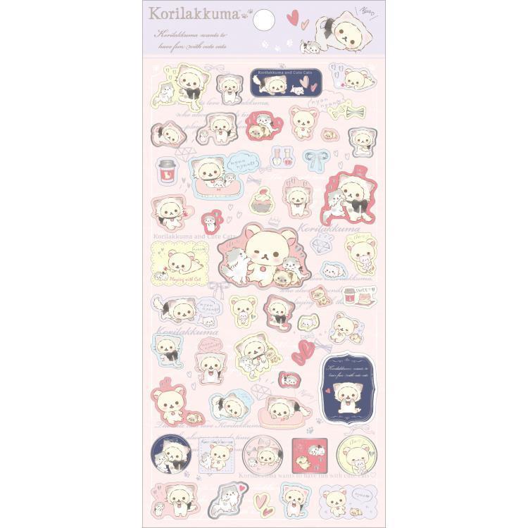 Stickervel San-X Korilakkuma Cute Cats Lila