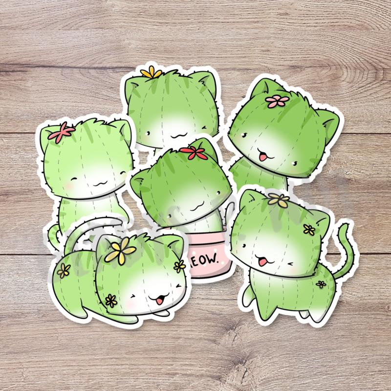 Stickerset - Cactus Cat - CutieSquad