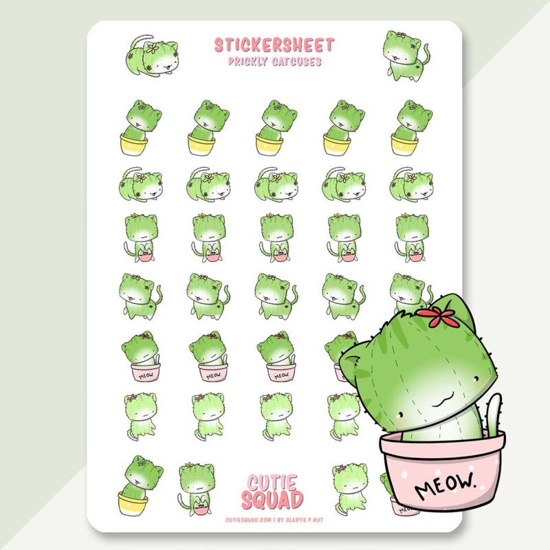 Stickervel - Cat Cactus - CutieSquad