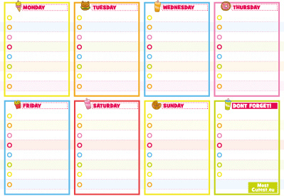 Kawaii Weekly Planner A5 Rainbow