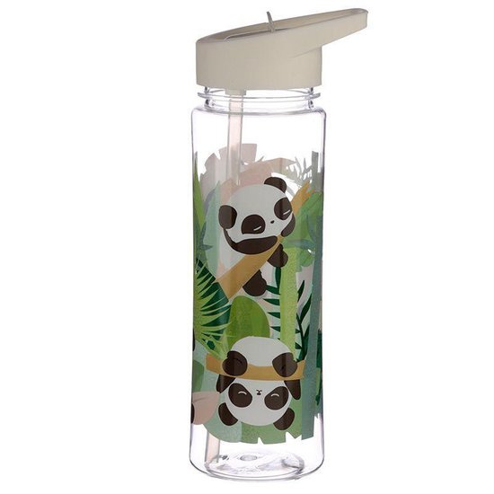 Trinkflasche mit Strohhalm Panda