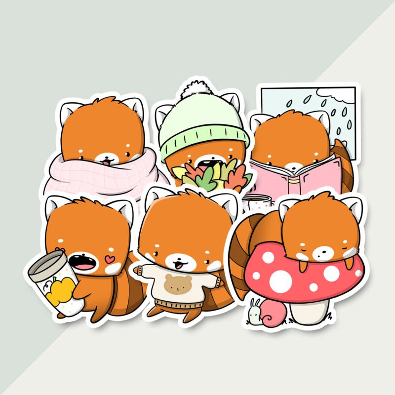 Stickerset - Fall Red Pandas - CutieSquad
