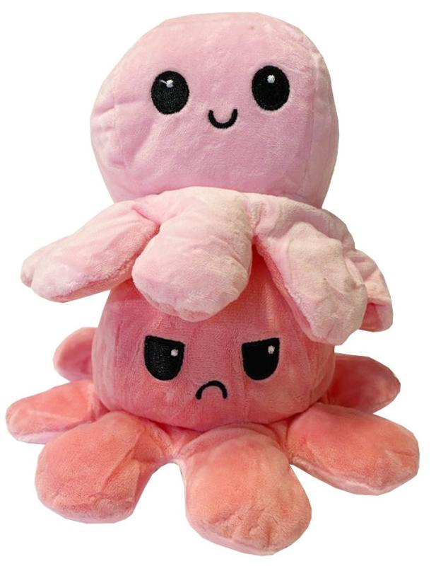 Kawaii Octopus plushie reversible - Pink/Pink - happy / sad
