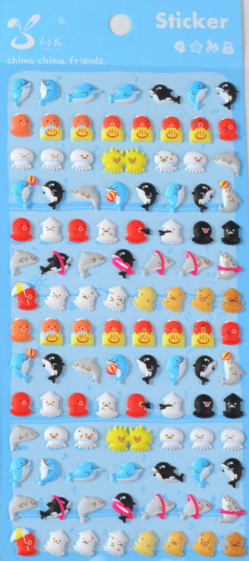 Stickersheet puffy sea animals