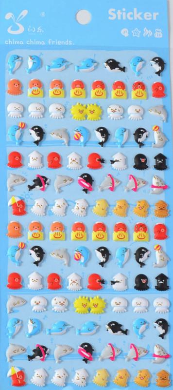 Stickervel puffy sea animals