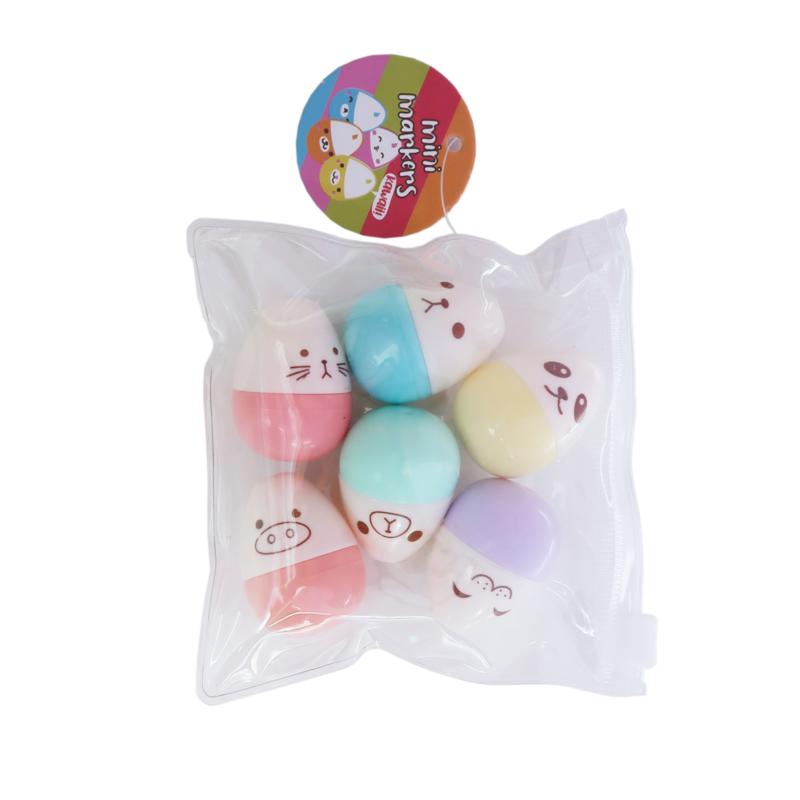 Emoji Egg minimarkers - 6 stuks