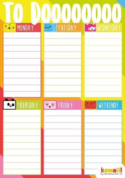 Kawaii Weekly Planner Cube Friends