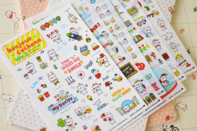 Stickers Bonjour Cochonn (6 vellen)