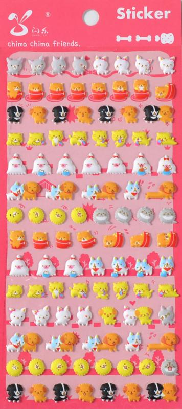Stickervel puffy Animals cats & dogs