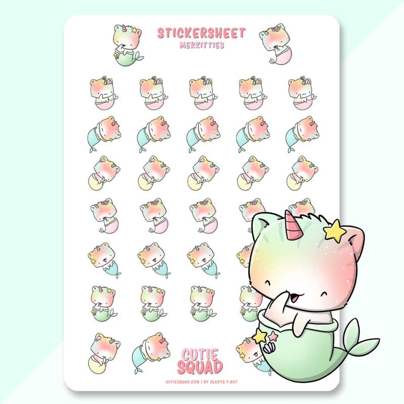 Stickervel - Mermaid Unikitties - CutieSquad