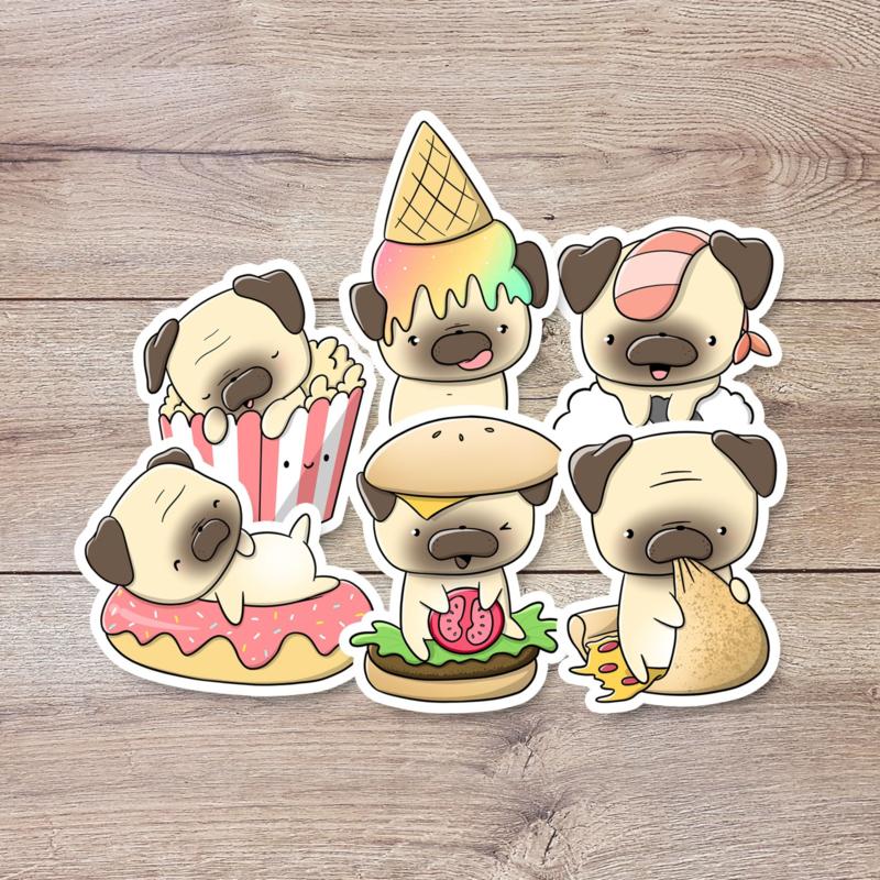 Stickerset - Pugs with food - CutieSquad