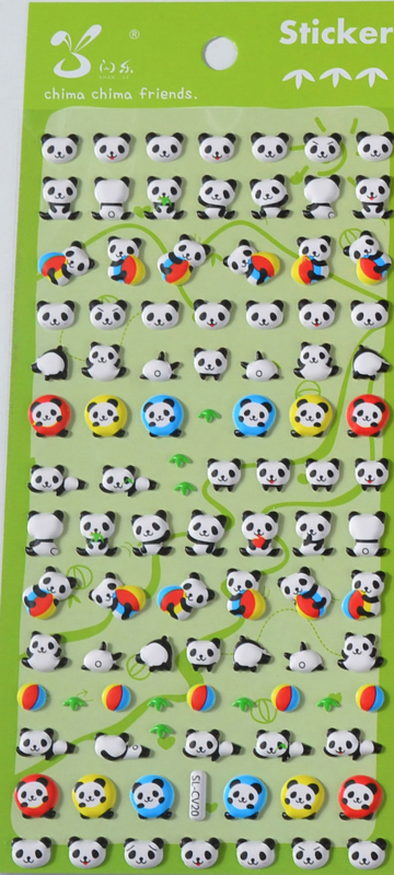 Stickervel puffy panda