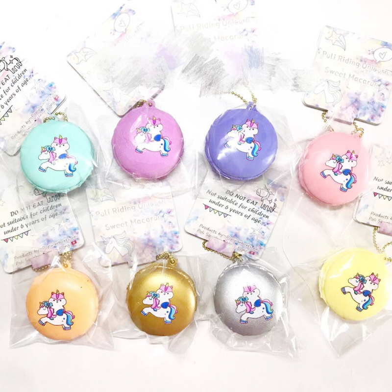 3 x Squishy Poli Macaron Unicorn - Surprise!