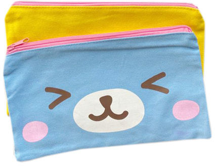 Kawaii Canvas Pencil Pouch / Toiletry Bag - Yellow Lila