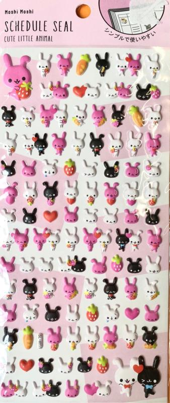 Aufkleber puffy Erdbeere bunny