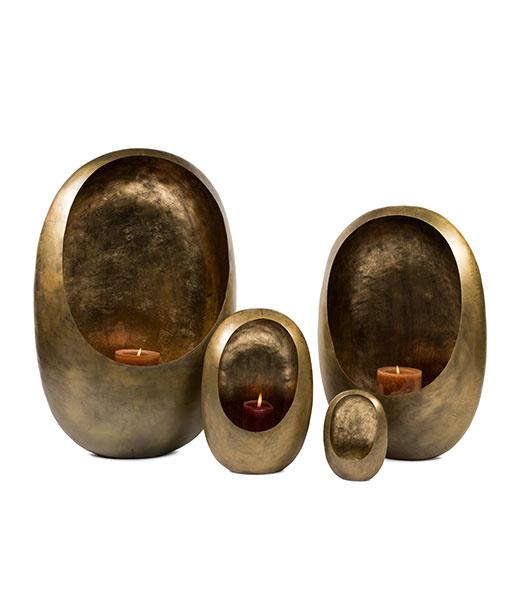 Standing egg T – Light holder Gold Brass Antique