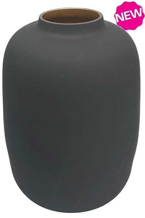 Vaas mat zwart met gouden binnenkant Ø21 x H29 cm