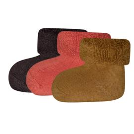 Ewers 3-pack newborn sokjes bruin, roest, kurkuma