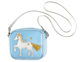 Blauw paarden schoudertasje