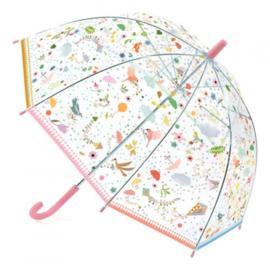 Paraplu doorzichtig met kleine vogeltjes