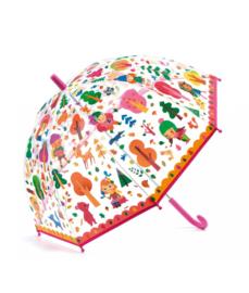 Paraplu doorzichtig meisjes in het bos