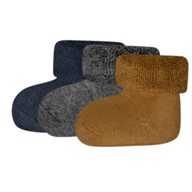Ewers 3-pack newborn sokjes grijs, blauw, bruin